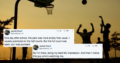 Woman live-tweets scary story about a guy she met as a kid that ended up being a serial killer.