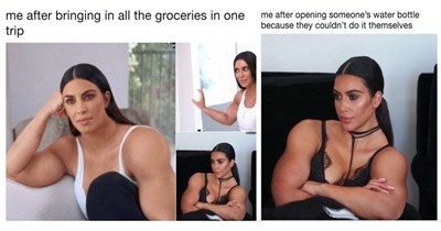 Funny twitter meme of Kim KArdashian looking swole, bodybuilder, photoshop.
