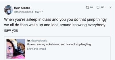 a funy tweet that went viral about a dog waking up from his own snoring