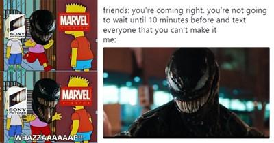 Funny memes about Venom, venom memes, venom trailer, tweets, twitter, marvel, tom hardy, riz ahmed, topher grace, tumblr.