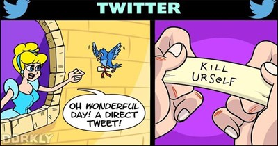 Funny comics roasting popular websites and disney movies.