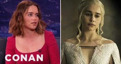 Daenerys Targaryen Emilia Clarke Game of Thrones conan obrien funny Video nudity - 79510017