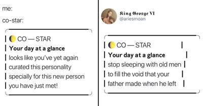 MEmes about co--star astrology notifications, co-star, astrology, horoscopes, funny tweets.
