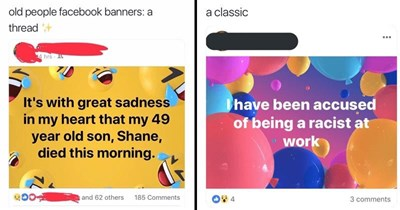 Funny twitter thread about old people using facebook banners wrong, facebook status.