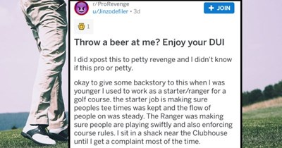 Golf employee takes a pro revenge on a drunk golfer who threw his half drank beer at him for telling them to stop drinking on the course.