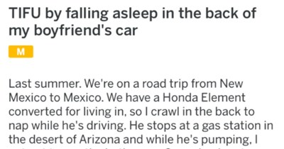 Panicked boyfriend accidentally leaves his girlfriend at a random gas station in the desert of Arizona.