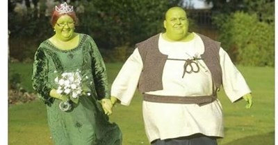 Funny meme about shrek wedding, royal wedding, meghan markle, prince harry, princess fiona, ogres.