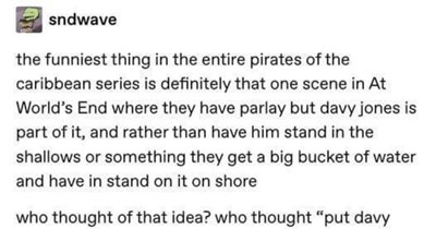 Tumblr users run a hyper analysis on Davey Jones from Pirates of the Caribbean.