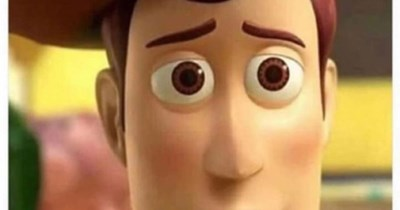 Funny meme about toothpaste coming off of your toothbrush, woody from toy story.