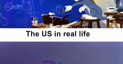 Funny meme depicting how the US poorly handles disasters using Tom from 'Tom and Jerry'