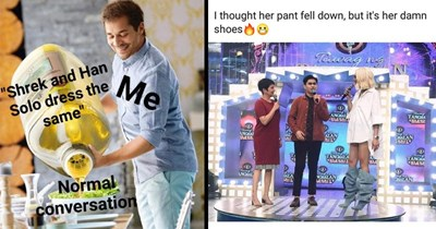 Funny random memes | pouring a huge bottle of oil into a salad Shrek and Han Solo dress same Normal conversation | thought her pant fell down, but 's her damn shoes Tewag wg ANGHAI TANGHA ANGHAI ALAN RITY CHALAN BRITY TANCHALA CELLURIT TANCHA Anrg ANGHAL ALA BIT NGHALAN LEBRITY HАГANI 20