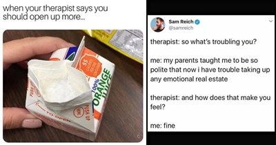 Funny memes and tweets about therapy