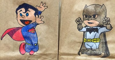 Parent leaves awesome doodle drawings on their kid's lunch bags for school.