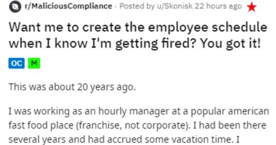 New manager makes employee quit, so he schedules employees all with same name.