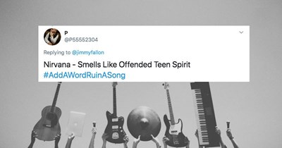 A collection of Twitter users respond to Jimmy Fallon's prompt about adding one word to a song to ruin it.