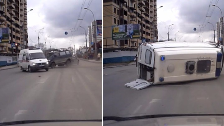 Ambulance Gets T-Boned Hard Going Through an Intersection