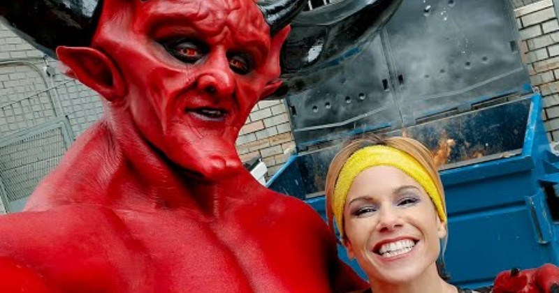funny dating app parody girl and satan taking selfie