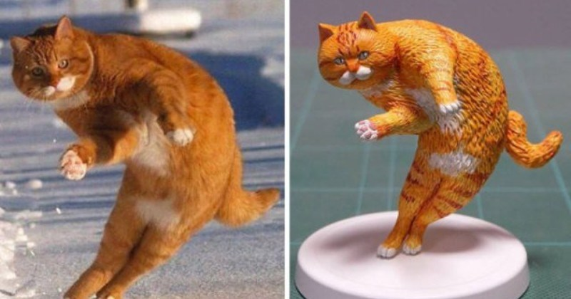 Japanese Artist Turns Funny Cat Photos He Finds Online Into Tiny Sculptures