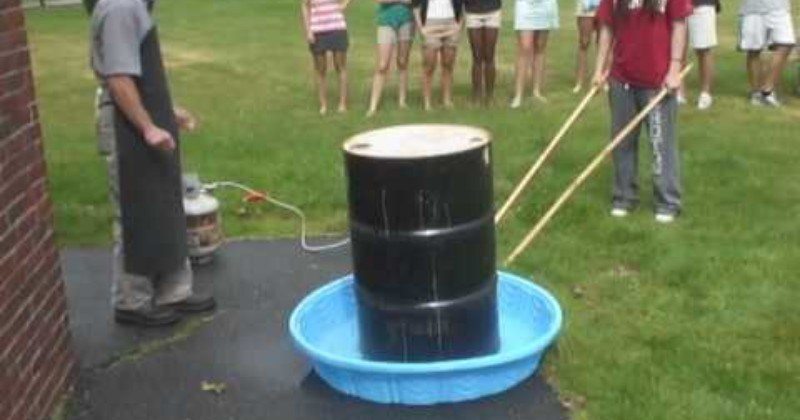 Dudes Crush 55 Gallon Steel Can Using Air Pressure