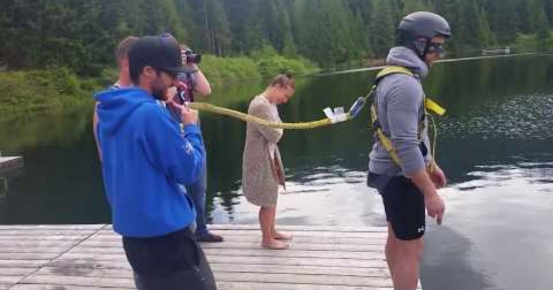 Blindfolded Man Gets Bungee Jump Pranked At Bachelor Party