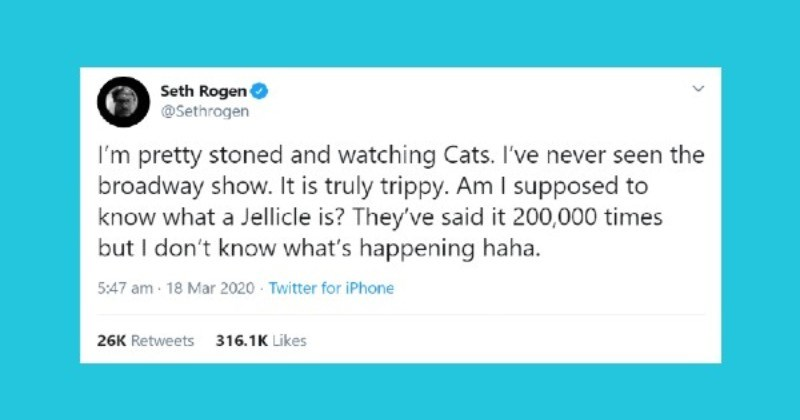 """Quarantine Deal with: Seth Rogen Live -Tweeting The Broadway Version Of """"Cats"""""""