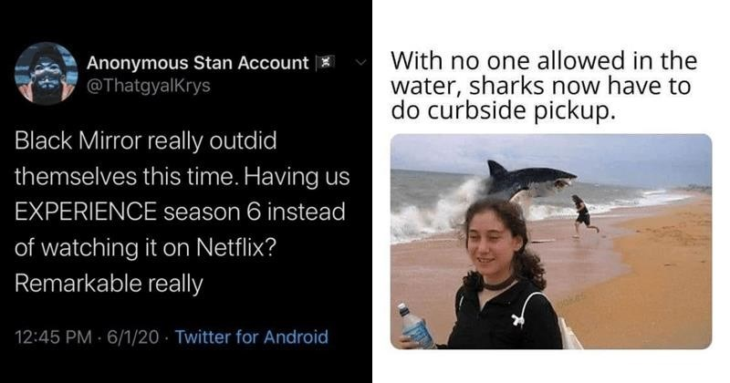Funny random memes, dank memes, stupid memes, funny tweets, black mirror, lockdown, quarantine | Anonymous Stan Account @ThatgyalKrys Black Mirror really outdid themselves this time. Having us EXPERIENCE season 6 instead watching on Netflix? Remarkable really 12:45 PM 6/1/20 Twitter Android | With no one allowed water, sharks now have do curbside pickup. cakes