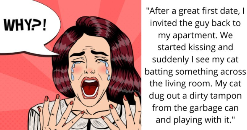 """stories of humiliating first date moments - thumbnail text - WHY?! """"After a really great first date, I invited the guy back to my apartment. We started kissing and suddenly I see my cat batting something across the living room. My cat dug out a dirty tampon from the garbage can and playing with it."""""""
