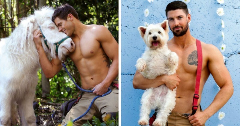 story about Australian firefighters posing with animals for a yearly charity calendar thumbnail includes two pictures including one of a shirtless firefighter holding a dog and another of a shirtless firefighter petting a white horse