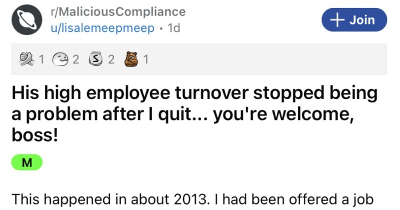 Toxic boss makes their employee's life miserable, so the employee decides to call their bluff.