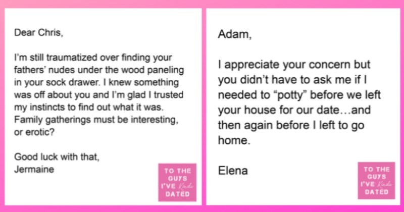 """funny letters of disappointment from women to the guys they've dated 