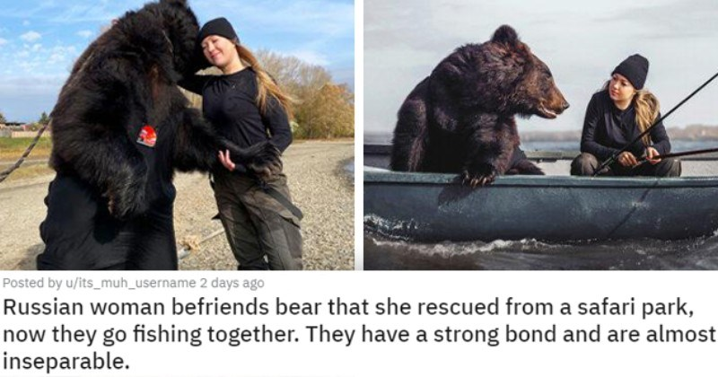 pics of the cutest animals of the week | thumbnail includes two pictures including a woman hugging a bear and a bear and a woman on a fishing boat 'Russian woman befriends bear that she rescued from a safari park, now they go fishing together. They have a strong bond and are almost inseparable. u/its_muh_username'