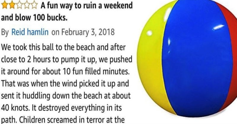 Guy leaves a hilariously dark-humored review on Amazon for a giant beach ball.