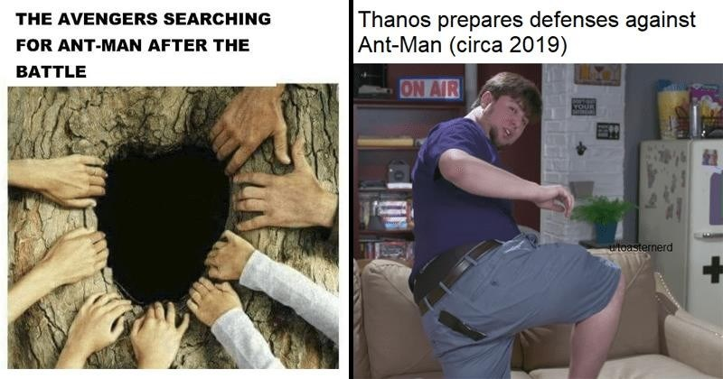 Marvel memes about ant-man defeating Thanos via his butt.