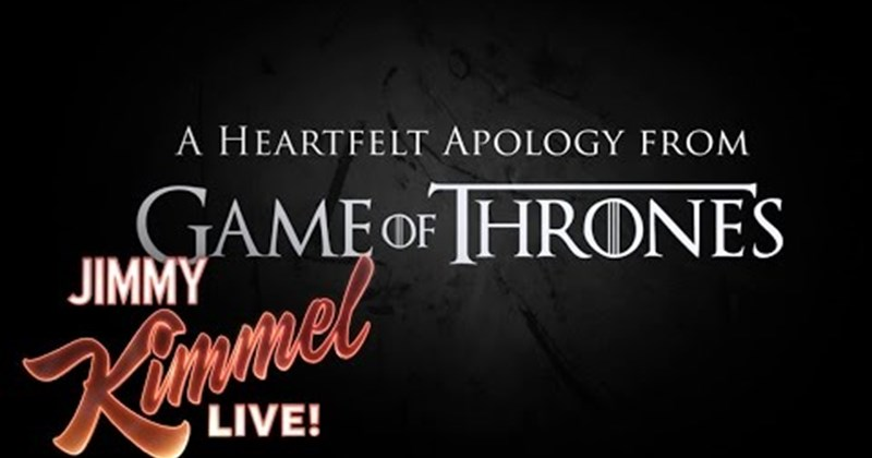 jimmy kimmel Game of Thrones apology Video - 80328193