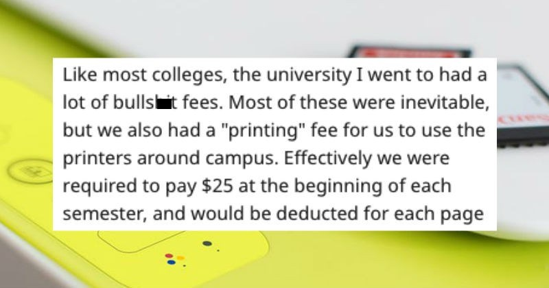 malicious compliance of printer fees