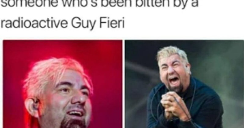 """Caption that reads, """"The lead singer of Deftones looks like someone who's been bitten by a radioactive Guy Fieri"""" above pics of Chino Moreno with a similar hairstyle to Guy Fieri"""
