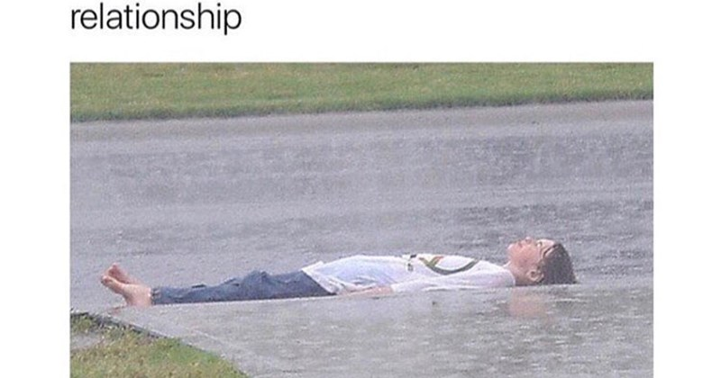 Funny meme about emo 11 year old listening to breakup music in the rain.