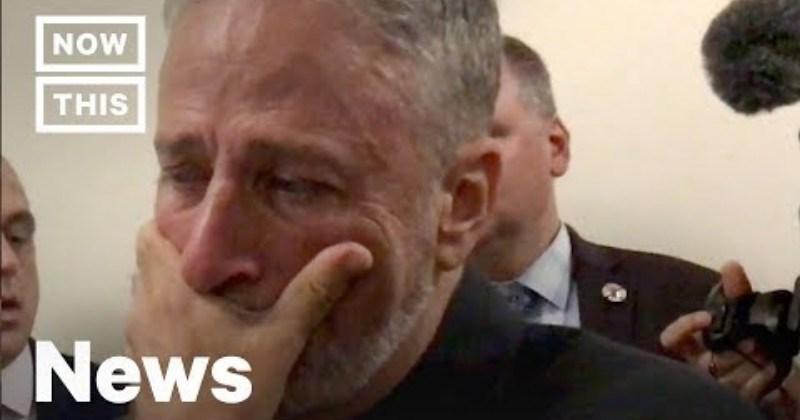 Video Jon Stewart Breaks Down Over Gift From 9/11 First Responders