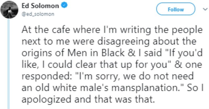 Writer of men in black told not to mansplain the story he wrote.