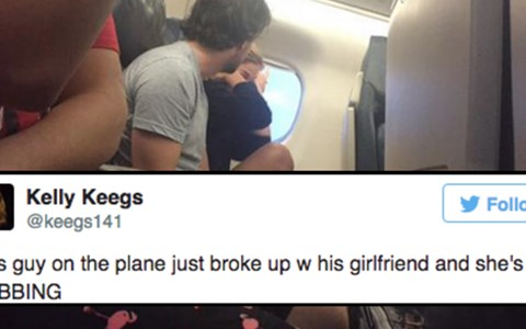There's a time and place to discuss your relationship woes. Choosing an enclosed airplane at 30,000 feet in the air with no real escape plan is NEVER the way to go.