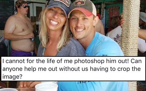 Couple Requests to Have a Shirtless Man Photoshopped Out of Their Engagement Photo and the Internet Responds in True Fashion