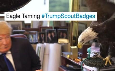 Roundup of Donald Trump #TrumpScoutBadges Twitter memes.
