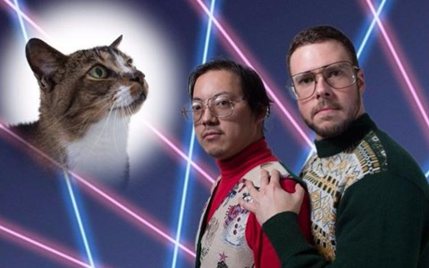 portraits of men with their cats
