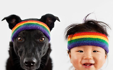 photos of dog and his little boy