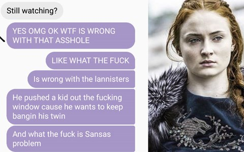 Guy's girlfriend reacts to watching Game of Thrones in funny string of text messages.