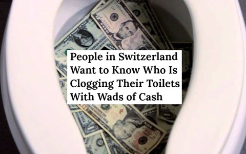 collection of weird news headlines from around the world, toilet with money in it after switzerland toilets getting clogged with euros.