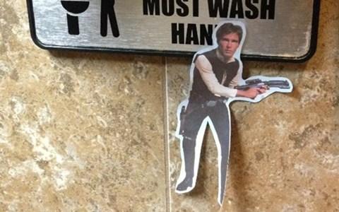 puns hands bathroom Han Solo