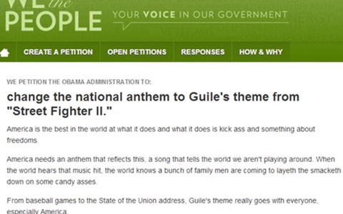White house national anthem petition guiles-theme