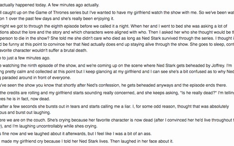 redditor lies to his gf about game of thrones